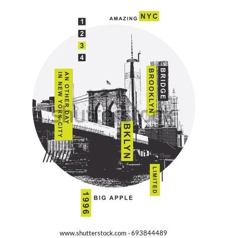 New York Brooklyn bridge illustration, tee shirt graphics, vectors, typography