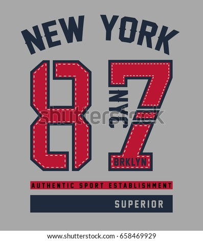 New york, Brooklyn college style print design for t-shirt and other uses