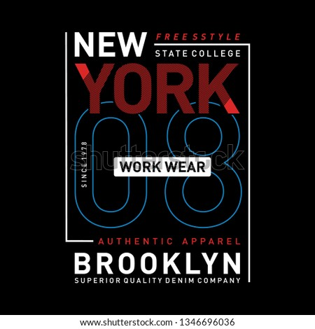 New York, Brooklyn core denim typography for t-shirt print. Vintage badge for t shirt print. Varsity style