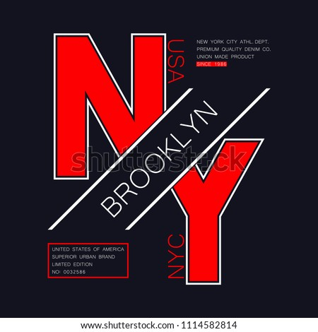 New York, Brooklyn typography for t-shirt. NYC, USA modern graphics for tee shirt. NY trendy apparel print, athletic clothes design. Vector illustration.