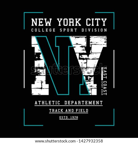 New York, Brooklyn typography for t-shirt print. Vintage badge for t shirt print. Varsity style