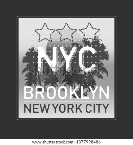 New York Brooklyn typography slogan College with b&w badge for fashion. T-shirt and apparels print - Vector