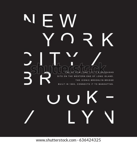New York Brooklyn typography, tee shirt graphics, vectors