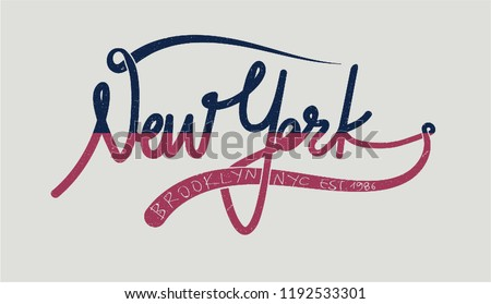 New York Brooklyn Vintage hand made  calligraphy Fashion Slogan with line Typography modern Fashion Slogan for T-shirt and apparels graphic vector Print.