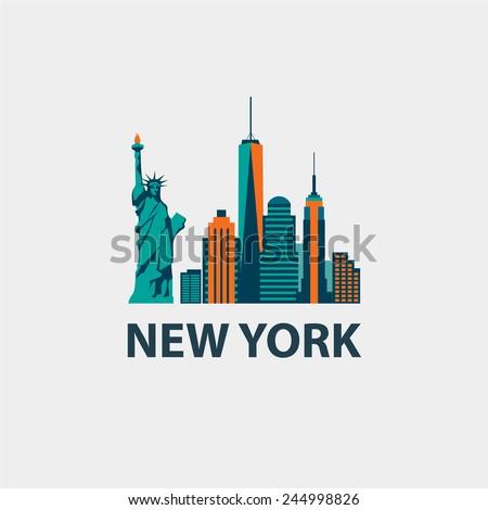 New York city architecture retro vector illustration, skyline city silhouette, skyscraper, flat design
