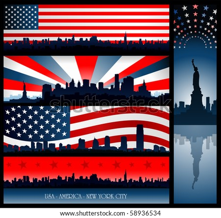 New York city banners - stock vector