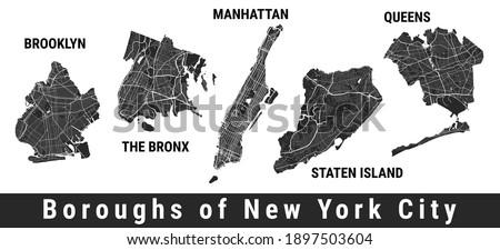 New York city boroughs map set. Manhattan, Brooklyn, The Bronx, Staten Island, Queens. Detailed street maps. Silhouette aerial view. Сток-фото ©