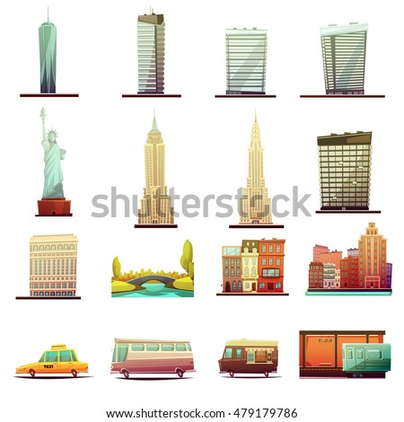 New york city buildings landmarks tourists attractions and transportation elements retro cartoon icons collection isolated vector illustration
