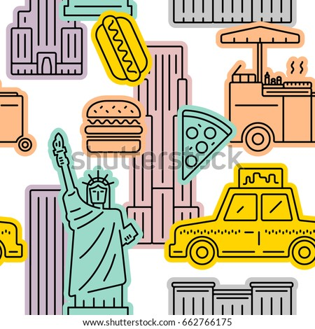 New York City colorful seamless vector pattern