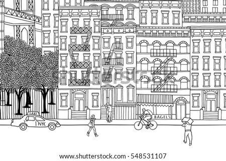 New York City - Hand drawn urban scene of tiny people walking through NY