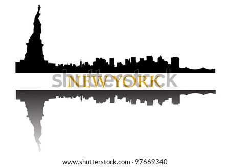 New York city high-rise buildings skyline - stock vector