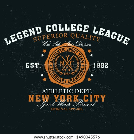 New york city legend college league, original apparel typography, t-shirt graphics, vectors