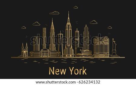 new york city line art  golden