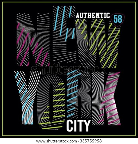 New York City neon typography, t-shirt graphics #335755958
