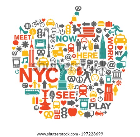 new york city nyc icons and
