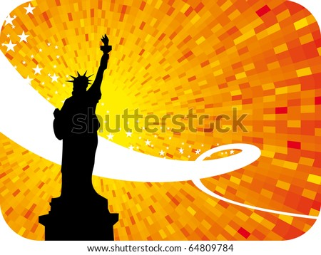 New York city orange shine sunset background with black silhouette of liberty statue
