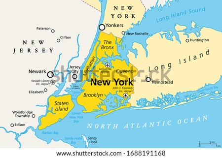 New York City, political map. Most populous city in the United States, located in the state of New York. Manhattan, Bronx, Queens, Brooklyn and Staten Island. English labeling. Illustration. Vector. Stock fotó ©