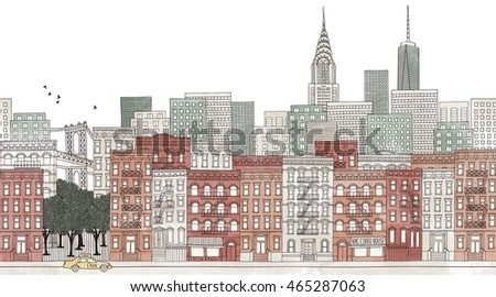 New York City - seamless banner of the city's skyline, hand drawn and digitally colored ink illustration
