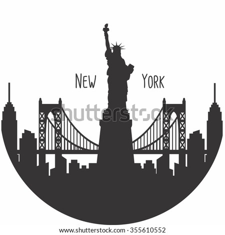 New York city silhouette with typographic. Vector illustration - stock vector