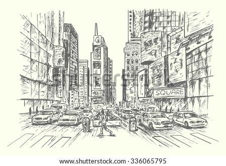 New York City sketch style isolated illustration