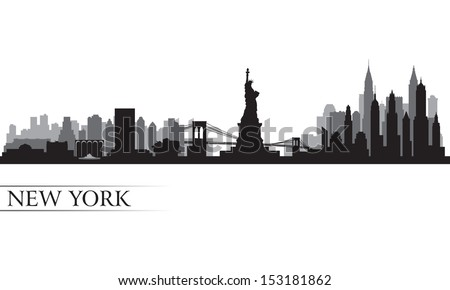 New York city skyline detailed silhouette. Vector illustration