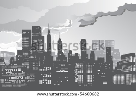 stock vector : new york city skyline silhouette night vector