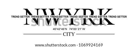 New york city slogan, t shirt graphics, tee print design. Vector.