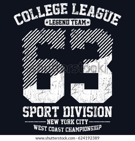 New york city sport division, college league, legend team typography, t-shirt graphics, vectors