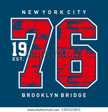 New York City 1976, T-shirt typography print New York urban theme graphic cool design classic vintage illustration