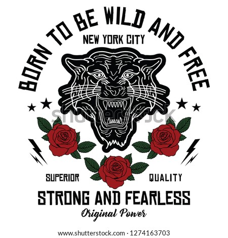 New York City tiger embroidery rose slogan fashion patch, rose with leaves, fashion patches, badges  typography, t-shirt graphics, vectors