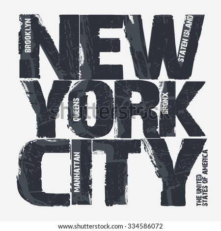 New York City Typography Graphics, Brooklyn T-shirt design. vector illustration