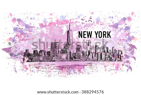 new york city  vector drawing
