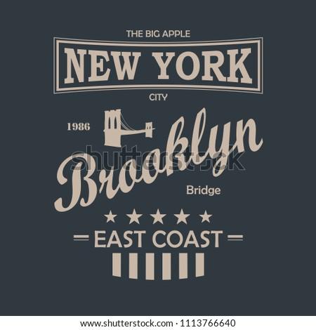 New York City Vintage T-Shirt Design Black And White. Vector.