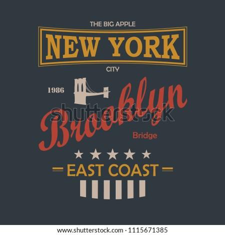 New York City Vintage T-Shirt Design Black Background. Vector.