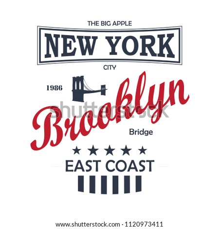 New York City Vintage T-Shirt Design White. Vector.