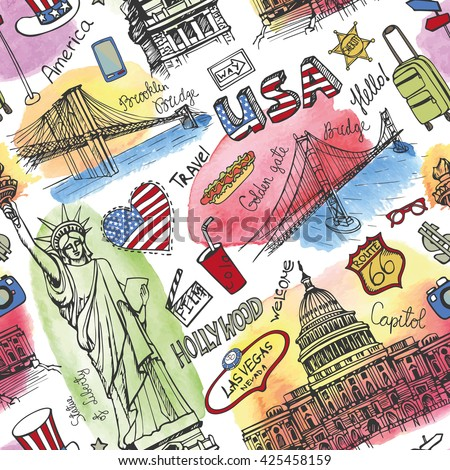 new york doodle seamless