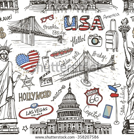 new york doodle seamless...