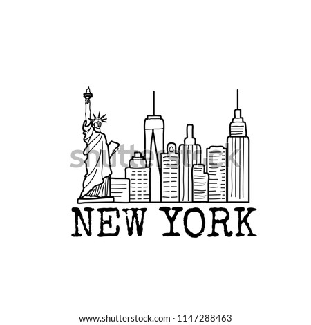 New York emblem or landmark; hand drawn line vector icon,  graphic symbol isolated on white.  Cityline with skycrapers and a statue of liberty.