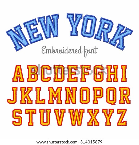 new york  embroidered font