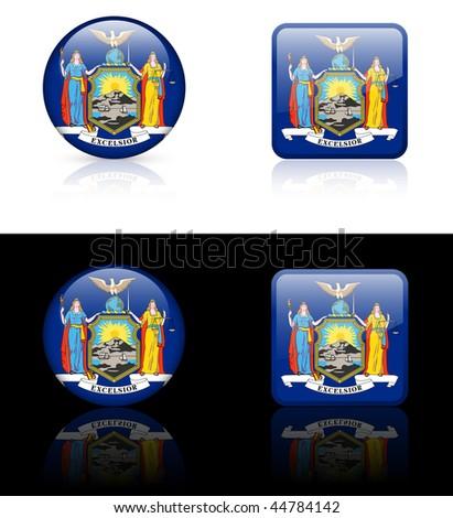 New York Flag Icon on Internet Button Original Vector Illustration AI8 Compatible