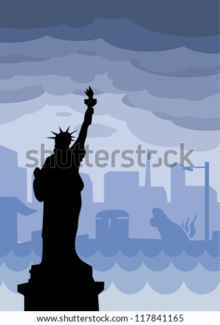 New York flood with the Statue of Liberty