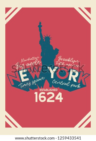 e5499986 new york freedom statue vintage colorful poster distressed apparel