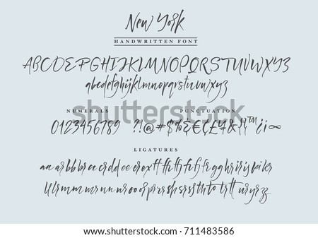 New York handwritten font. Script. Calligraphic set