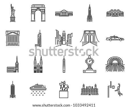 new york icons line style sets