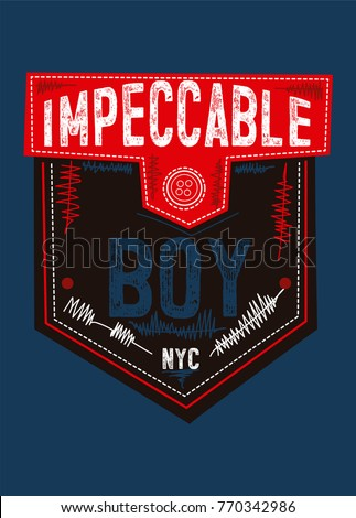 new york impeccable boy,t-shirt print poster vector illustration