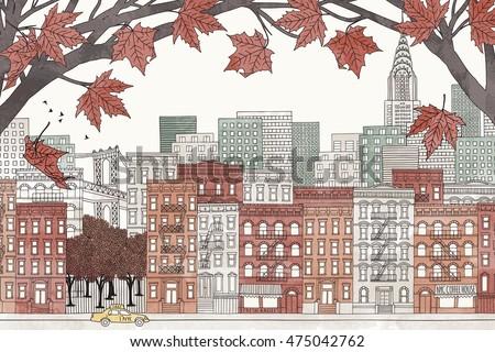 new york in autumn   hand drawn