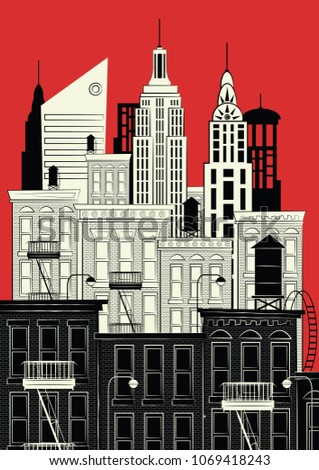 New york in style sketch. Vector illustration.