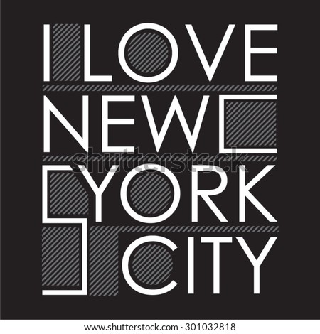 new york  love typography  t