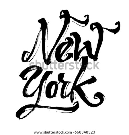 New York. Modern Calligraphy Hand Lettering for Silk Screen Printing
