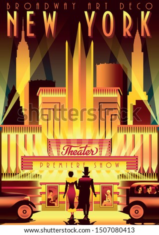 New York Night Broadway in the style of the 30s of the 20th century. Handmade drawing vector illustration. Art deco retro poster style.